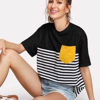 Color-block Pocket Patch Striped Tee