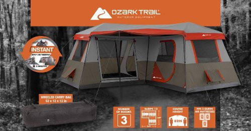 12-Person 3 Room Instant Cabin Tent Ozark Trail 16x16-Feet with Pre-Attached Poles & 12-Person 3 Room Instant Cabin Tent Ozark from CampHuntLive
