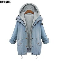 Spring Autumn Jacket women Two Piece Set Denim Jacket With Hoody Oversized Casual Women Coats Outerwear Vintage Ropa Mujer