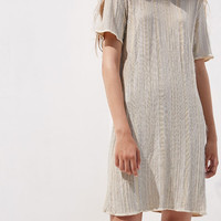 Silver-Gold Stretch-Knit Mini Dress