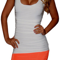 Little Things (White/Orange)-Great Glam is the web's top online shop for trendy clubbin styles, fashionable party dress and bar wear, super hot clubbing clothing, stylish going out shirt, partying clothes, super cute and sexy club fashions, halter and tub
