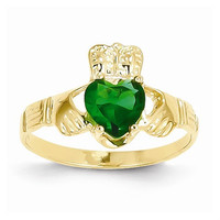 14k Yellow Gold May Birthstone Claddagh Ring