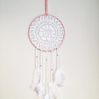 Dream catcher, large dream catcher, nursery ideas, baby girl, baby gifts, pink dream catcher, room decor, lace dreamcatcher, boho decor,