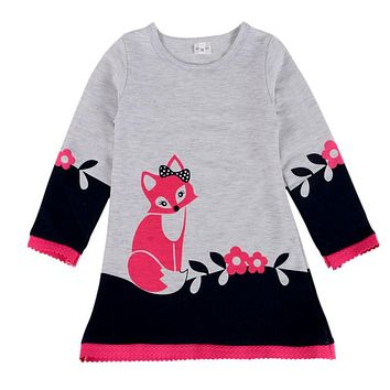 WEIXINBUY New Autumn Double-layer Warm Long Sleeve Kids Fox Clothing Winter Girl Thick Sweater Dress Children Clothes 2-7Y H2