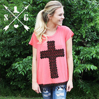 Brown Crochet Lace Cross on Coral Short Sleeve -CLOSEOUT