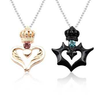His & Her Queen King Heart Crown CZ alloy Couple Valentine Necklace