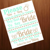 Instant digital download, Don't say Bride,  shower game chalkboard sign,Mint and gold,,  shower game   Printable 8x10