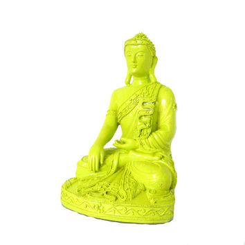 buddha statue, neon home decor, lime green, buddhist, statues, asian art, spiritual, hipster