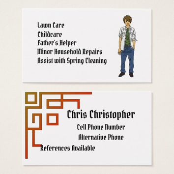 Male Teenager Will Work Business Card