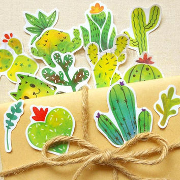 Cactus Stickers, Plants Sticker, Succulent Sticker, Skateboard Decals, Watercolor Sticker, Laptop Decal, Waterproof Sticker, Planner Sticker