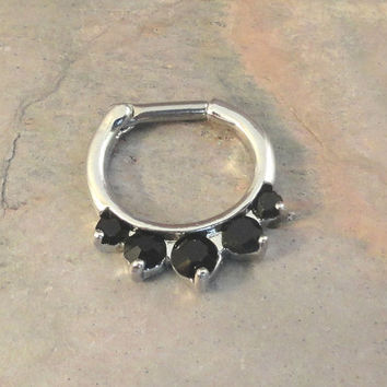 14 Gauge Black Crystal Septum Ring Clicker Bull Ring Nose Piercing