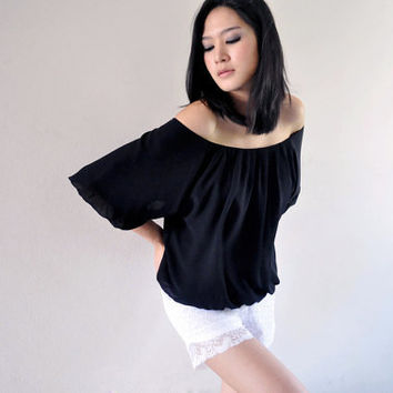 Office Fashion Spring Pleat Black Blouse Wide Neck Tank Top 12 L
