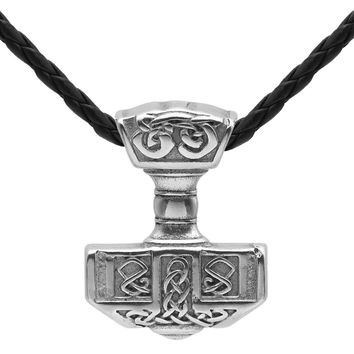 Men 316L Stainless Steel Norse Viking Thor's Hammer MJOLNIR Pendant Necklace