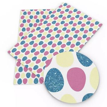 Blue pink & yellow glitter print Easter eggs faux leather fabric sheet