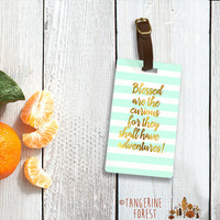 Blessed Are The Curious Mint & Gold Personalized Luggage Tag