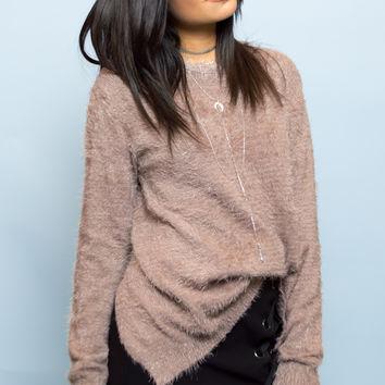 Fuzzy Mauve Knit Open Back Sweater