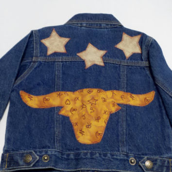 Children's clothing , Child's denim jacket , Children's jackets , Appliqued jackets , size 12 months ,  Baby jackets , Western Clothing
