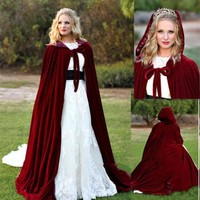 Custom Size Velvet Hooded Cloak Medieval Wedding Cape Wicca Cloak Halloween Cloaks Wedding Jacket With Hood Wedding Accessories