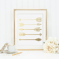 Arrows Gold Foil Print - Gold Foil Arrow Print - gold foil print - gold foil office decor - gold office decor- gold room decor - gold foil