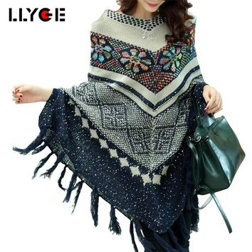 LLYGE Women Ponchos And Capes Winter Batwing Knit Sweater With Tassel And Sequins 2018 Pull Femme Hiver Oversized Sweaters
