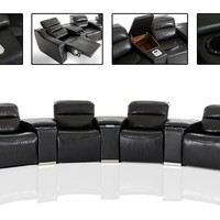 Divani Casa Salem Modern Black Eco-Leather Recliner Sectional Sofa / Theater Seating with Audio System