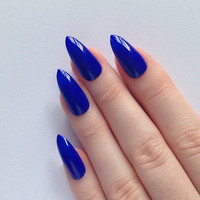 Blue Stiletto nails, Fake nails, Stiletto nails, Press on stiletto nails, Nail art, Nails, Acrylic nails, Stiletto nail, Fake nail