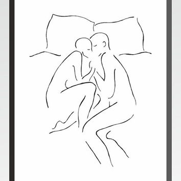Cute illustration of a couple on bed. Sexy art for bedroom. Man and woman together. Lovers art print.