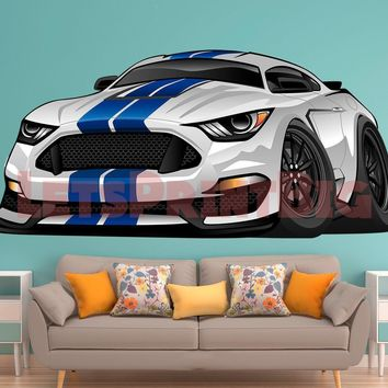 Ford Mustang Warp Muscle Car WALL DECAL REMOVABLE REPOSITIONABLE