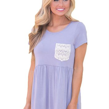 Lavender Lace Pocket Patch Babydoll Blouse Top