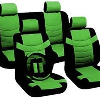 "Two Tone PU Synthetic Leather Seat Covers Set 11pc Black & Green Accent ""Superior"" 2 Front Bucket - Bench - Steering Wheel - Seat Belt Pads & BONUS DETAILING WASH MITT"