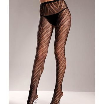 Designed Chevron Pattern Lycra Lace Pantyhose Black Qn