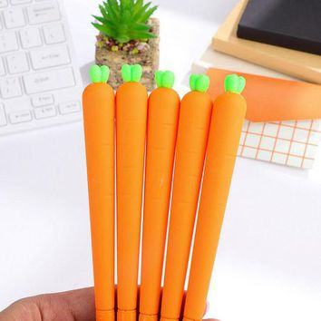 DCCKL72 X33 Cute Kawaii Lifelike Silicone Carrot Gel Pen Writing Signing Pen School Office Supply Student Stationery Kids Gift