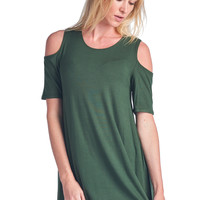 82 Days Women'S Rayon Span Cold Shoulder Short Sleeves Asymmetrical Tunic -  Solid