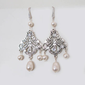Wedding Chandelier Earrings Swarovski Pearl Earrings Bridal Jewelry Vintage Ivory White Pearl Chandelier Earrings Art Deco Wedding Sterling