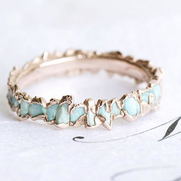 Turquoise Ring. Turquoise Band. Turquoise Band Ring. Light Blue Turquoise Wedding Band Ring. Light Blue Turquoise Band Ring.