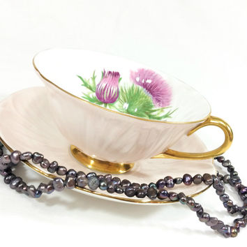 Shelley Oleander Tea Cup , Peach or Blush Color & Thistle Flower, Gold Rims Handle and Pedestal, Estate Find, 1940s, Vintage Tea Cup