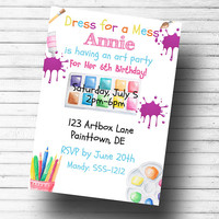 Paint party invitation - Art Party Invitation - Paint birthday party - Birthday party invitation - Girls party invitation - Birthday invite