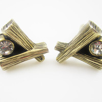 Modernist Cufflinks Vintage Cuff Links Abstract Theme Clear Rhinestone Men's Jewelry Gifts for Men Mid Century Modern