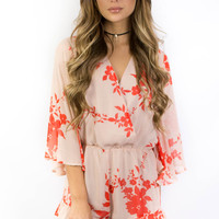San Fran Sunset Orange Printed Romper
