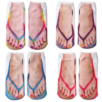 Hot Sale Women Harajuku Style 3D Printed Casual Socks Unisex Funny Flip flops Socks Low Cut Ankle Socks