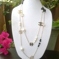 """Gorgeous 70"""" Designer Runway Pearl and Crystal Chain Necklace"""