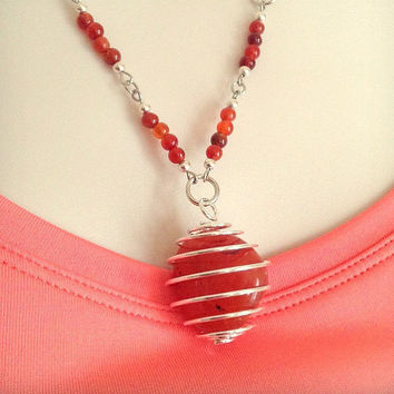 Carnelian Gemstone Necklace, Drop style necklace, Gemstone Jewelry, Healing necklace, Gift for her, Women's Jewelry, Fashion Jewelry