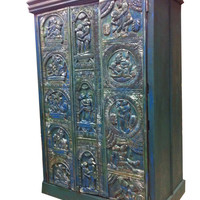 Solid Wood Almira Rajasthani Blue Patina Kamasutra Armoire Media Cabinet