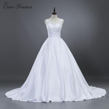 C.V Vintage Elegant Ball Gown Satin Wedding Dresses 2018 New Boat Neck Lace Appliques Ruched Simple Bright Wedding Gown W0204