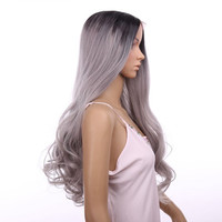 "Synthetic Lace Front Wig Big wave Curly 18"" Ombre Tone Color Black&Grey Heat Resistant Hair Wigs hair extensions"