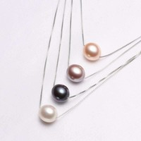 Pearl Pendant Necklace for Women Gift Party 925 Sterling Silver 3 Colors White Black Pearl Jewelry