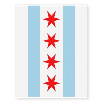 Patriotic temporary tattoos Flag of Chicago