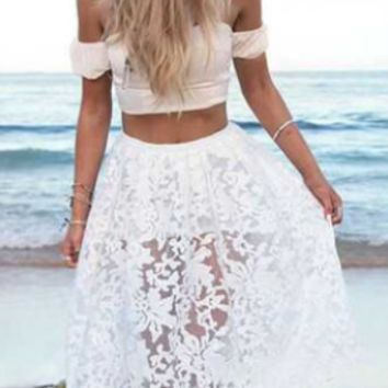 Lace Strapless Off Shoulder Top and Skirt
