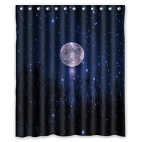 "Starry Night Moon stars blue sky ocean natural scenery landscape Custom Shower Curtain 60"" x 72"" Bathroom Decor"