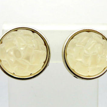 Vintage Lucite Earrings, West Germany Frosted White Clip-on Earrings, 1950s Jewelry